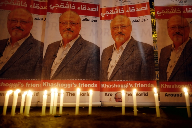 Candles lit by activists protesting the killing of Saudi journalist Jamal Khashoggi are placed outside Saudi Arabia's Consulate in Istanbul.