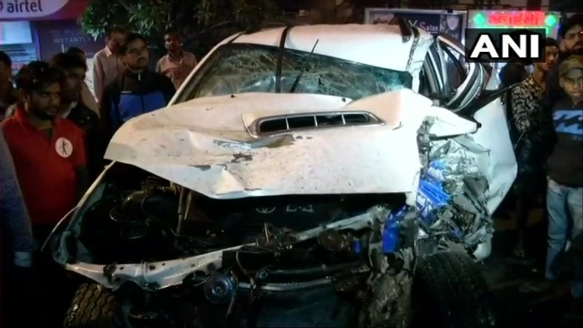 The car's condition after the accident.
