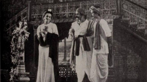 Prithviraj Kapoor with Zohra Sehgal and Sajjan in <i>Deewar</i>.