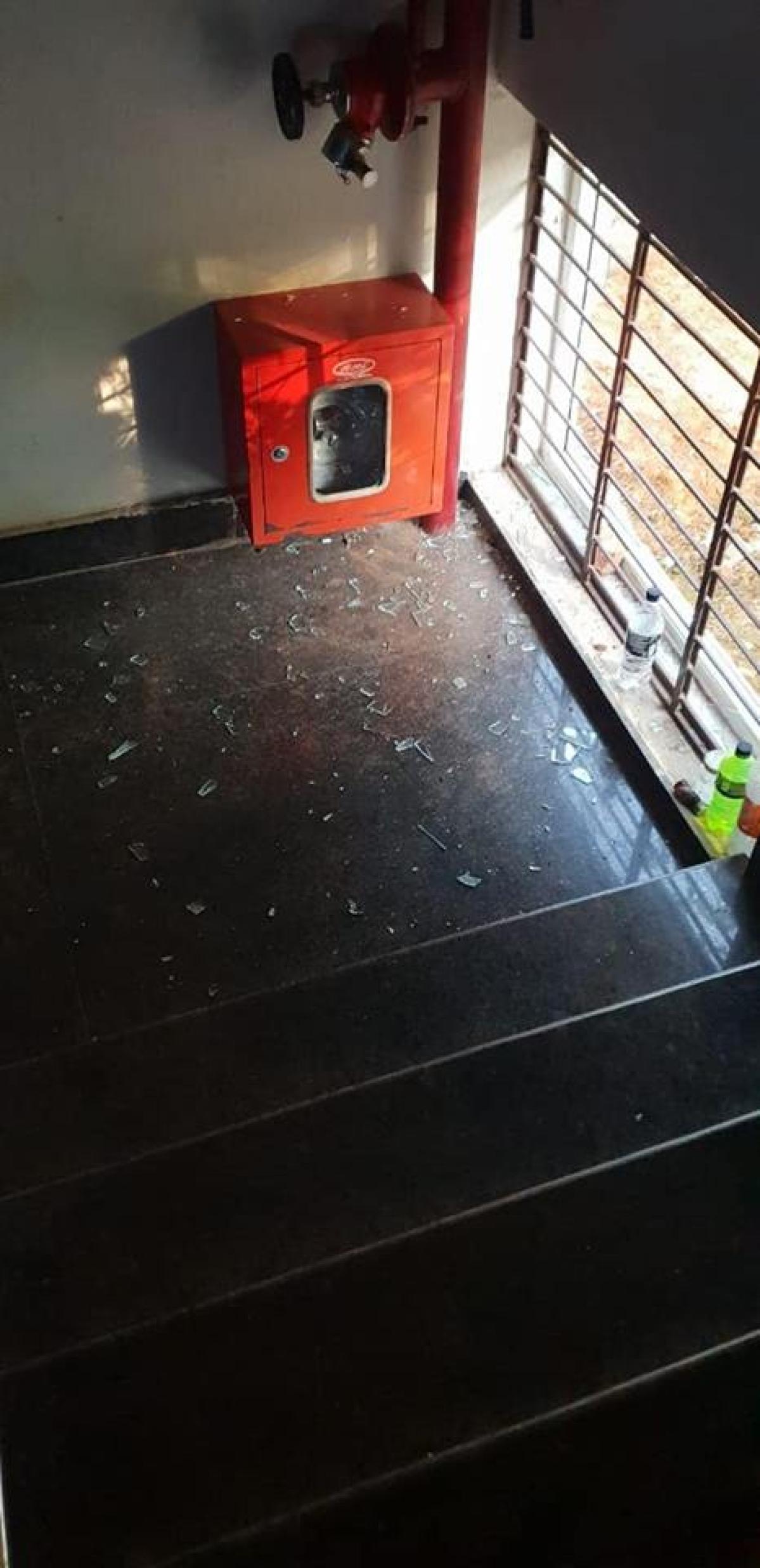 Broken glass at the KIIT Law school.