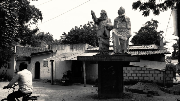 Statues of BR Ambedkar and B Babu Jagjivaram covered with cloths ahead of election in Nalgonda district in Telangana.