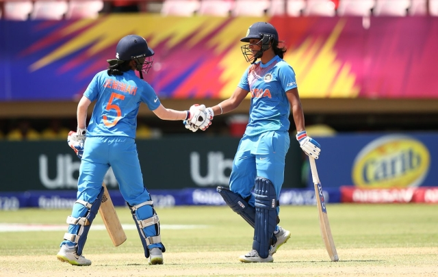 Jemimah Rodrigues (L) and Harmanpreet Kaur during their 134-run stand vs NZ