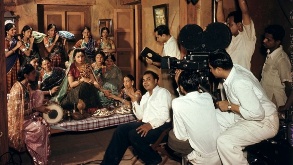 "An Indian movie crew filming a wedding scene at ""Famous Studios"" in Bombay, March 1948"