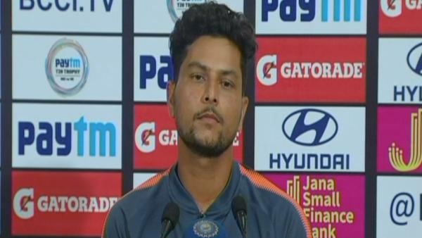Kuldeep Yadav at the post-match conference in Kolkata on Sunday.