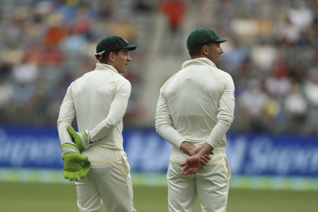 Australia's Tim Paine (left) and Shaun Marsh.