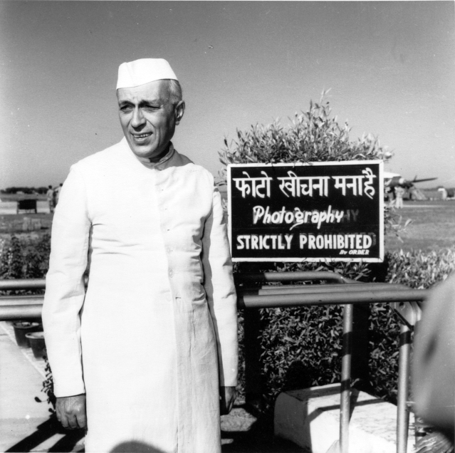 Jawaharlal Nehru caught by the camera at Palam Airport, Delhi, while waiting for his sister, Vijaylakshmi Pandit, the Indian ambassador to Moscow, to arrive in 1954