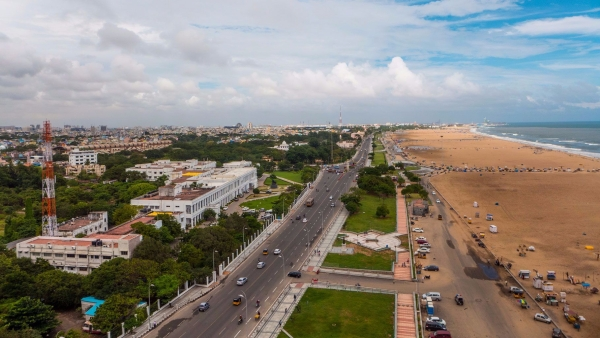 Aerial view of Chennai's Marina Beach.