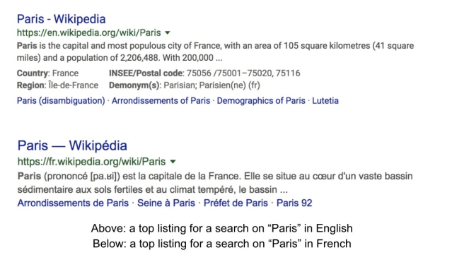 An example of the same search in different languages. English (above) and French (below).