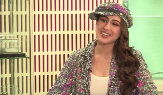 A still from one of Sara Ali Khan's interviews.