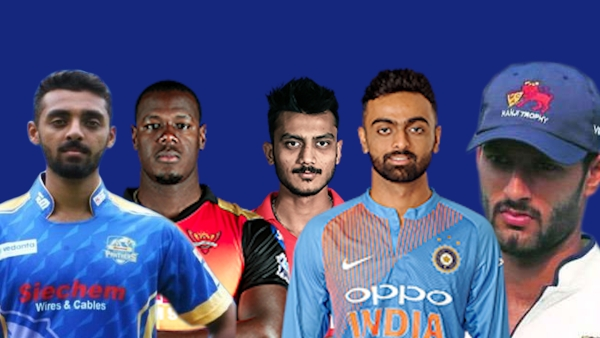 (L-R) Varun Chakravarthy, Carlos Brathwaite, Axar Patel, Jaydev Unadkat, Shivam Dube: Five of the top-10 buys at the IPL 2019 Auction.