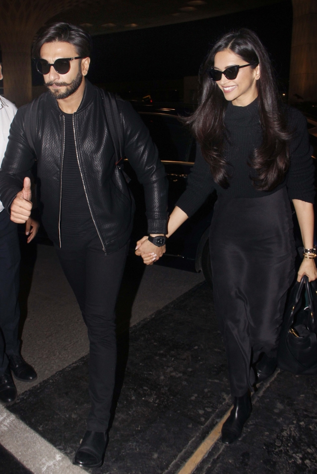Ranveer Singh and Deepika Padukone arrived at the airport holding hands. Aww!