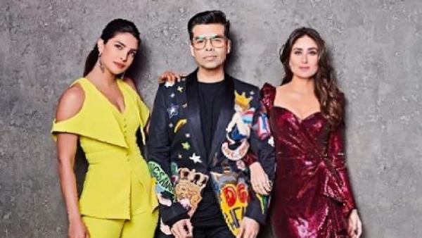 Priyanka Chopra and Kareena Kapoor on the sets of <i>Koffee With Karan</i>.