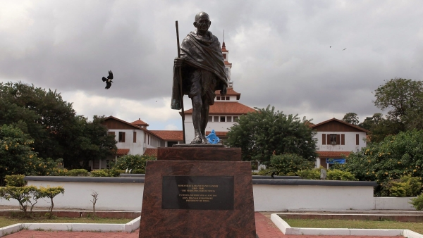 A statue of Indian independence leader Mahatma Gandhi in Accra, Ghana. The statue at the university was removed in the middle of the night, leaving a bare plinth.