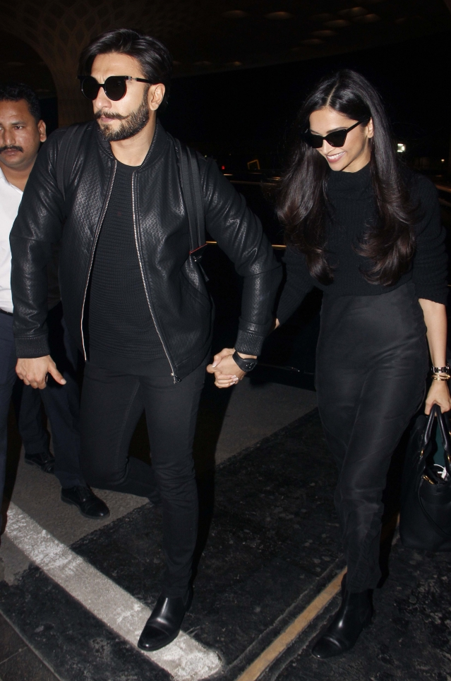 The couple were twinning in all-black ensembles.