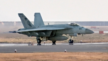Photo of a F/A-18 jet at United States Marine Corps air station in Iwakuni, western Japan.