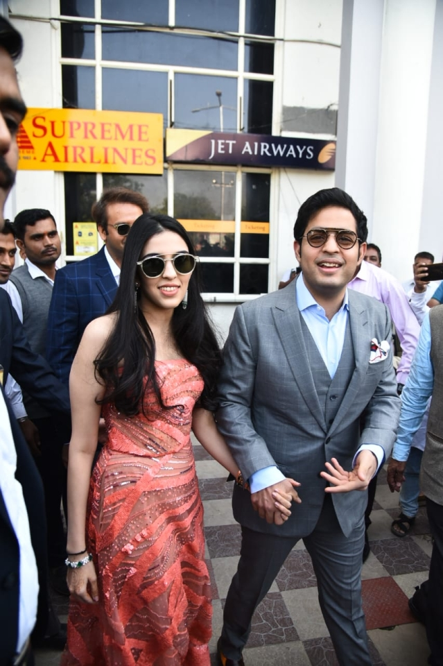 Akash Ambani and fiance Shloka Ambani arrived at the Jodhpur airport just in time for the reported Christian wedding ceremony.