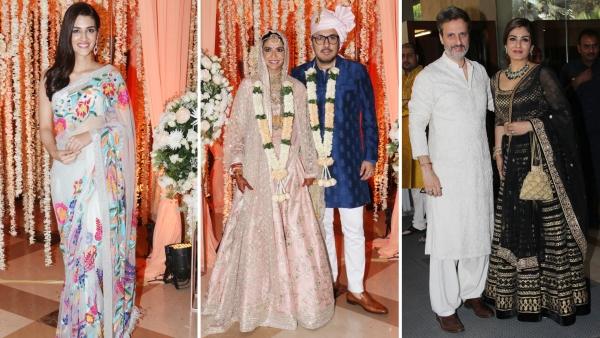 Kriti Sanon and Raveena Tandon were among the guests at <i>Stree</i> producer Dinesh Vijan's wedding.