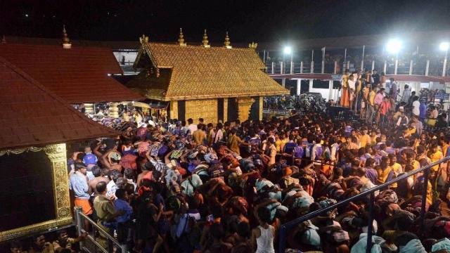 Devotees crowd the Sabarimala temple in Kerala.