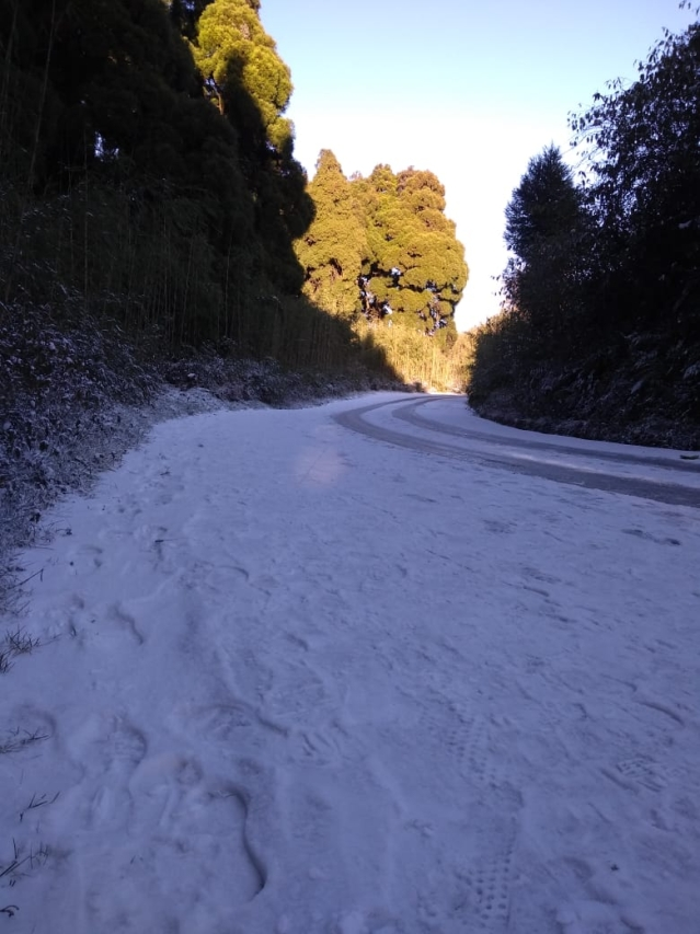 Darjeeling roads looked like they were covered with cake icing.