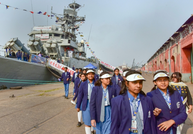 School students visit Navy warship of eastern fleet INS Kirch as a part of Navy Day celebrations, at Kolkata Port (Khidirpur Dock).