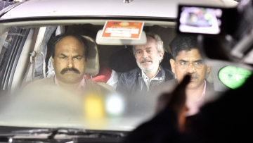 AgustaWestland scam accused middleman Christian Michel at CBI headquarters in New Delhi.