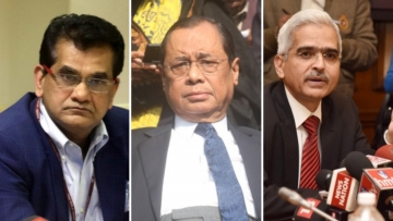 CEO of NITI Aayog Amitabh Kant (L), Chief Justice of India Ranjan Gogoi (M) and RBI Governor Shaktikanta Das (R) are graduates of St Stephen's College.