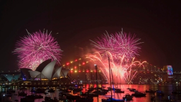Fireworks explode over the Sydney Harbour during the New Year's Eve celebrations in Sydney, on 31 December 2018.