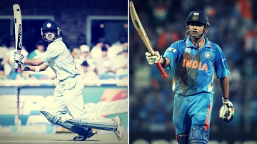 Gautam Gambhir was the top-scorer in India's wins in the finals of both the 2007 World T20 (left) and the 2011 World Cup (right).