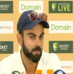 Virat Kohli at the post-match press conference after the second Test in Perth.