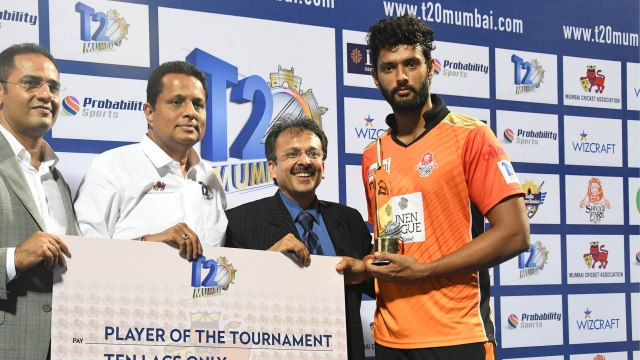 File photo of Shivam Dubey being awarded for his performance in the Mumbai T20 league.