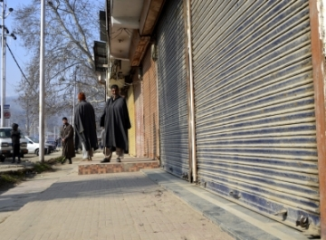 Baramulla: Shops remain closed during a shutdown called by separatists to protest the civilian killings a day before in Pulwama district; in Jammu and Kashmir