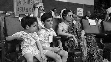 Indira Gandhi with Rajiv and Sanjay at the first Asian Games at the National Stadium. Delhi, 1951