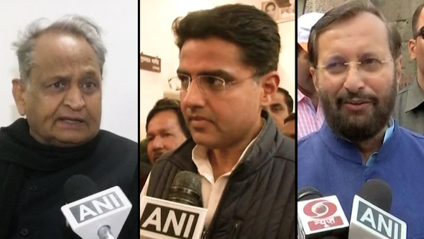 "Congress' Ashok Gehlot (Left) and Sachin Pilot (Centre) rejoiced at the exit poll projections while Union Minister Prakash Javadekar (Right) said that he would rather wait for ""exact poll"" results on 11 December."