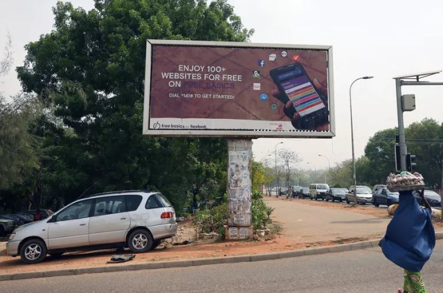 An advertisement in Nigeria for Facebook's Free Basics program, which offers a stripped-down version of the internet sponsored by private corporations.