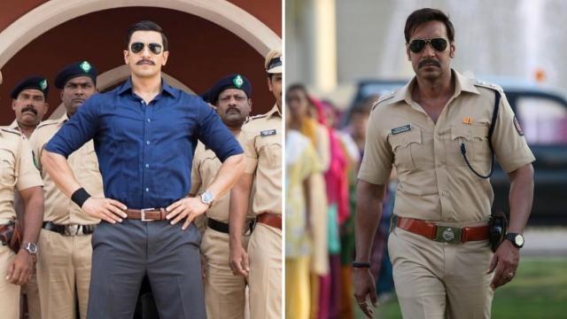 Ranveer Singh in <i>Simmba</i>; Ajay Devgn in <i>Singham</i>.