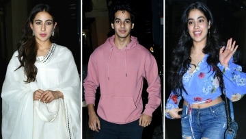 Sara Ali Khan, Ishaan Khatter and Jahnvi Kapoor at the <i>Kedarnath </i>screening.