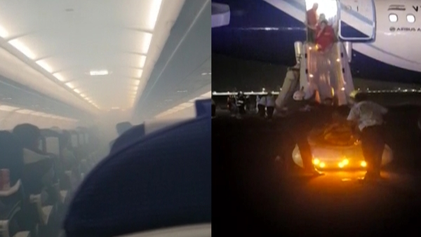 136 people on board were evacuated after smoke was detected in the cabin and the cockpit of the IndiGo aircraft.