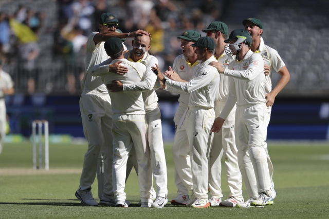 On a pitch where India opted to field no proper spin-bowling option, Australia's sole spinner Nathan Lyon returned match figures of 8/106.