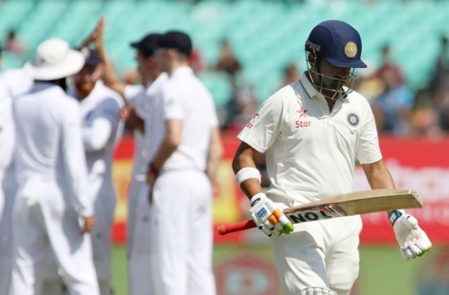 Gambhir pictured after being dismissed against England in what proved to be his final international outing, at Rajkot in 2016.
