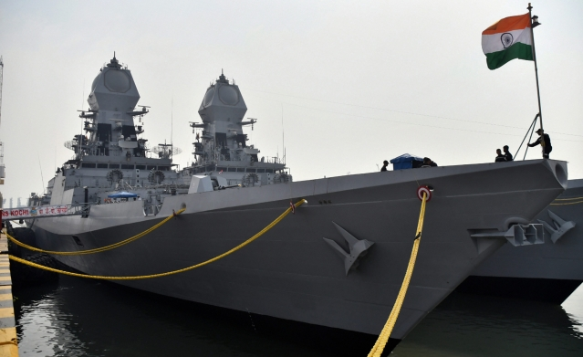 INS Kochi docked at Mumbai harbour ahead of the Navy day celebrations, in Mumbai, on 3 December 2018.