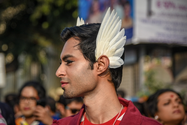 A protester dons a an interesting accessory at the Kolkata Rainbow Pride Walk 2018