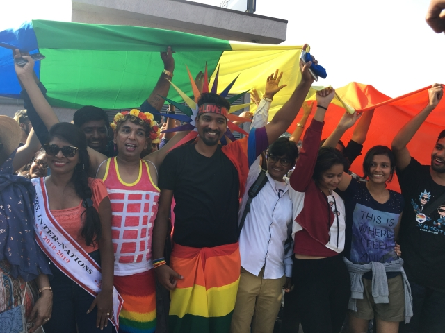 People celebrate at the Pride parade in Bengaluru.