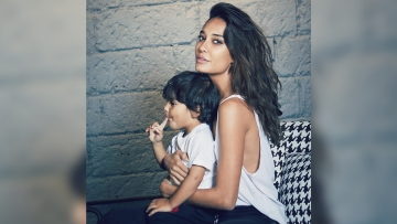 Lisa Haydon and son Zack on a recent photo shoot.