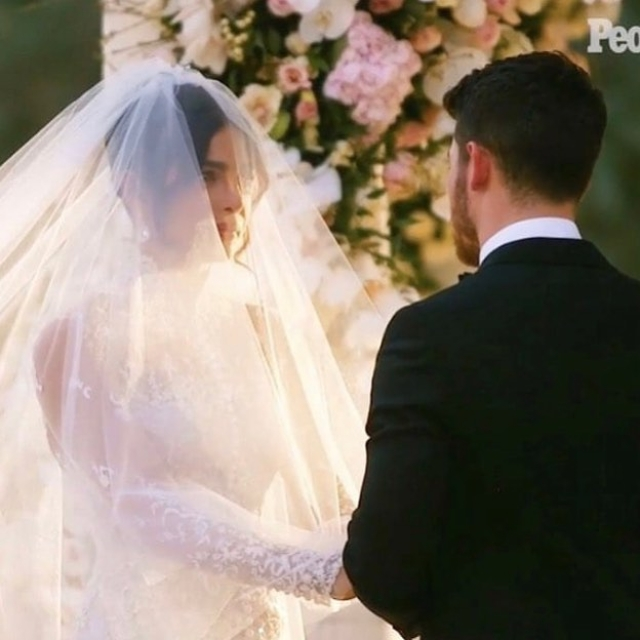 Priyanka and Nick exchange vows.