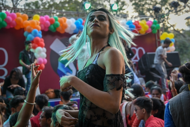 A trans person decked up for the Kolkata Rainbow Pride Walk 2018