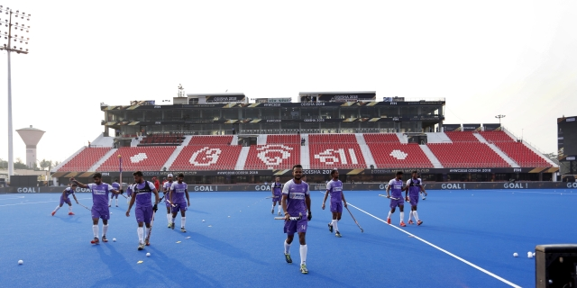 File picture of the Indian hockey team during a training session in Odisha. India's final Pool C match is against Canada on Saturday.