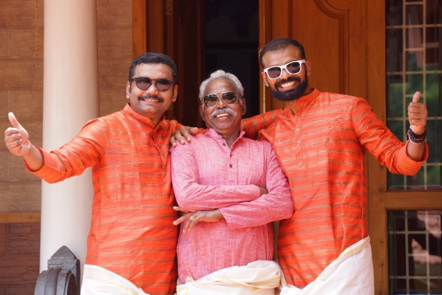 File picture of PR Sreejesh with his father and brother.