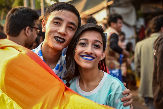 Protesters pose for the camera at the Kolkata Rainbow Pride Walk 2018