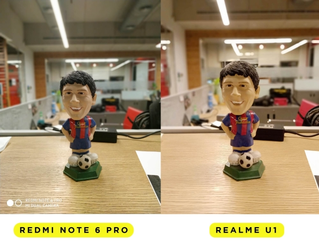 The portrait mode again works in the favour of Realme U1 because of the natural colours that too in the indoor lighting. Just notice the details and yeah, Messi is the best.
