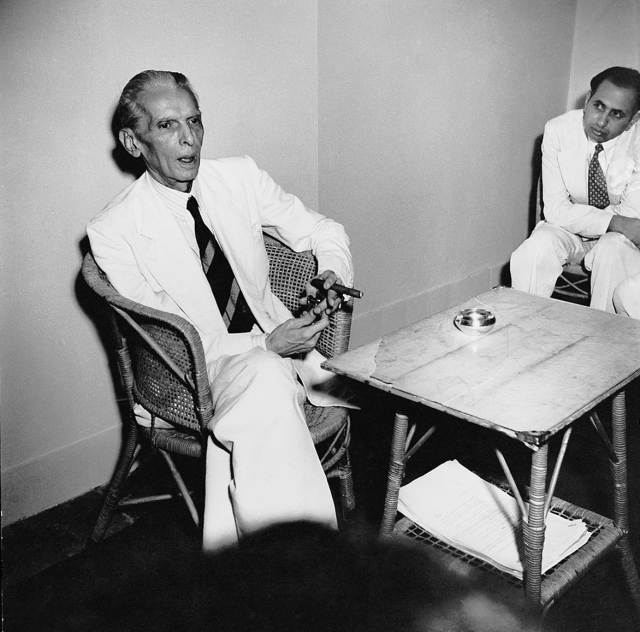 Mohammad AliJinnah at his last press conference before leaving for Pakistan, August 1947